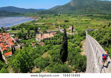 View Of Ston Town And Its Defensive Wall, Peljesac Peninsula, Croatia