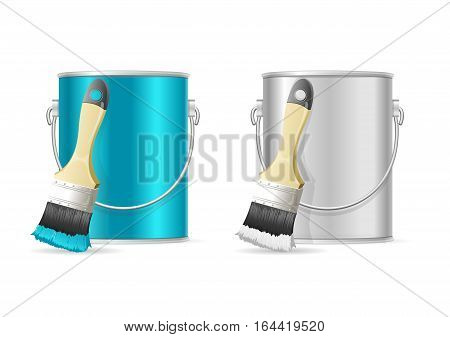 Steel Can Bucket and Paint Brush Blue Color and Empty Metal Container. Vector illustration
