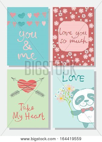 Valentine's greeting cards with cute panda, hearts and floral elements.