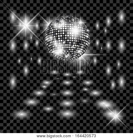 Disco ball with glow. Really transparency effect. Disco background. Template for your design.