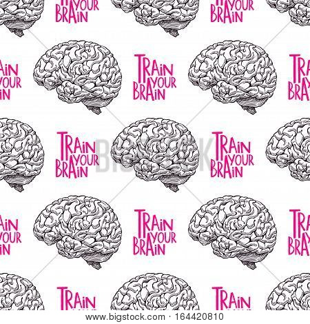 Train your brain. beautiful seamless pattern of realistic brain. hand-drawn illustration