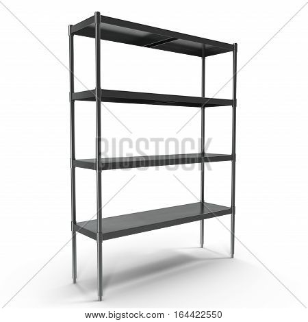Standing Shelving Unit Stainless Steel on white background. 3D illustration