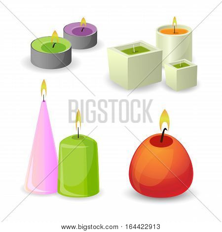 Aroma candles with little flame for relaxation. Vector set of cartoon illustrations with aromatherapy burning colorful candles with aromatic plant and essential oils isolated. Complementary therapy