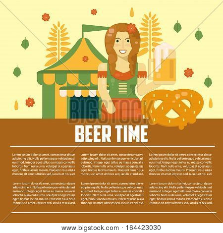 Beer letterhead template. Alcoholic festival concept banner. Beer time concept in flat style. Business vector template. Poster with beer waitress pretzel and beer tent.