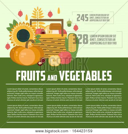 Fruits and vegetables template. Harvest letterhead template. Harvest concept in flat style. Business fruit and vegetables template. Wooden box with fruit and vegetables infographics.