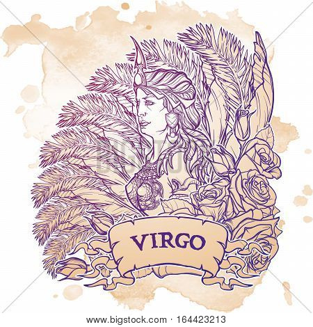 Beautiful woman with a decorative flower frame. Grunge background. Vintage style. Zodiac Art Nouveau luxury style. Virgo. Tattoo design. EPS10 vector illustration.