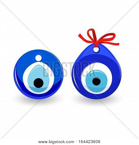 Amulet evil eye isolated. Receiving evil eye cause misfortune. Talisman to protect against evil eye. Element turn away harm. Vector