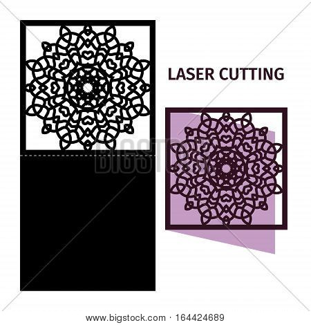 Vector illustration. Template for laser cutting. Greeting card.