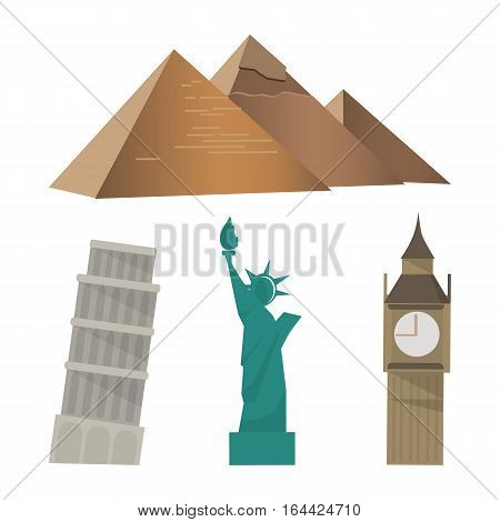 Cartoon landmarks around the world. Vector illustrations with world atractions Egyptian pyramids, Big Ben, Statue of Liberty and Tower of Pisa. Famous international landmarks isolated on white