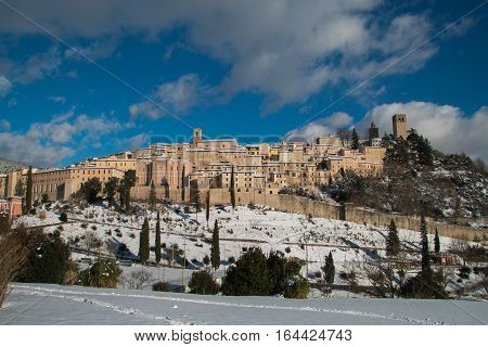 Nocera Umbra is a beautiful italian medieval village with snow in winter