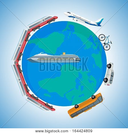Cartoon fast kinds of transportation vehicles around Earth planet. Vector illustration of colourful train, passenger plane, bike, speed car, public bus and voyage ship on globe symbol of world.