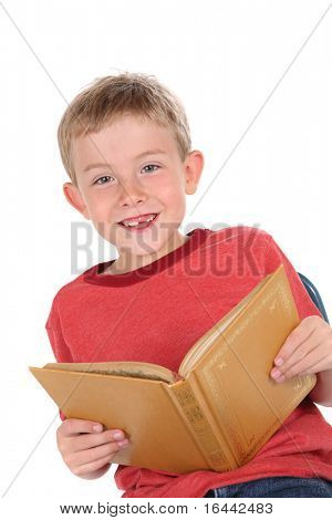 Smiling boy holding a book