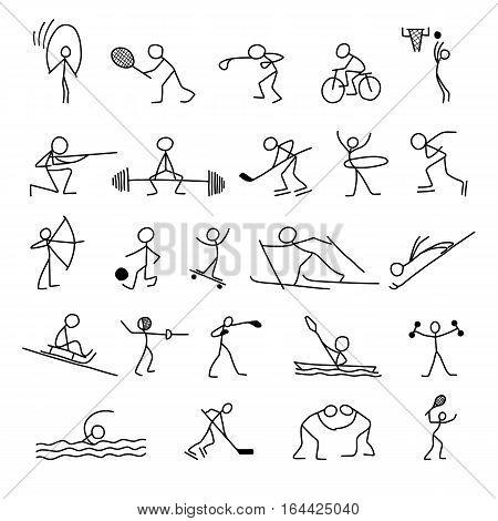 Cartoon icons sport set of stick figures sketch little vector people in cute miniature scenes.