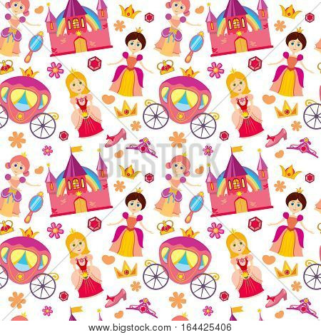 Beautiful princess vector seamless pattern, magic background for girls with princess medieval castle abd colored flower illustration