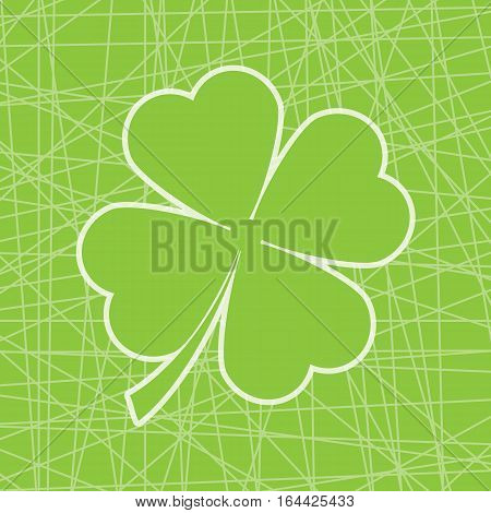 St. Patrick's Day illustration with shamrock leaves on line art background suitable for St. Patrick's Day greeting card, invitation card, and wallpaper