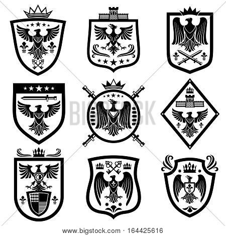 Medieval eagle heraldry coat of arms, emblems, badges. Monochrome heraldic emblem with eagle on shield illustration