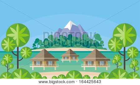 Bungalows on the ocean surrounded by tropical plants. South sea landscape. Vector background. Flat design.