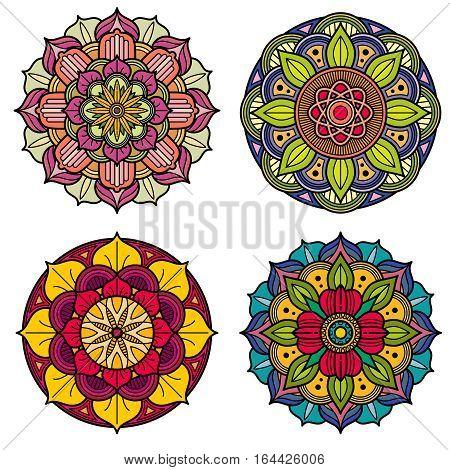Color mandalas indian and chinese floral vector patterns. Set of floral mandala. Illustration of asian mandala