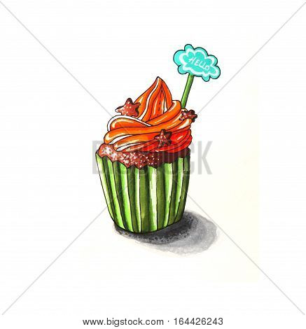 Raster illustration of Cupcake with biscuits and Hello sign. Hand-drawn picture. Watercolor sketch of a cream cake with biscuits decoration.