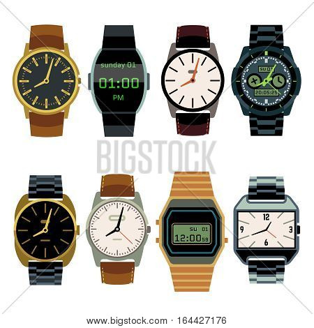 Man wrist watch flat vector set. Digital and mechanical wristwatch for men, illustration of bussiness watches