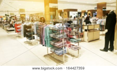 Abstract blurred photo of clothing store in a shopping mall shopping concept