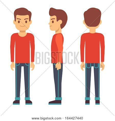 Standing young man, boy character in front, back, side view in casual clothes vector set. Guy stand side and front, illustration of cartoon guy
