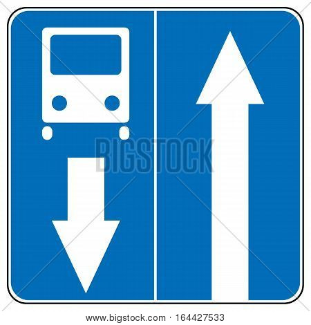 One way road traffic ahead sign, bus road. Drive Straight Arrow Traffic Vector illustrations. Set of arrow road signs
