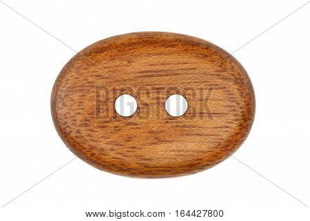 Wooden clothes button isolated on white background