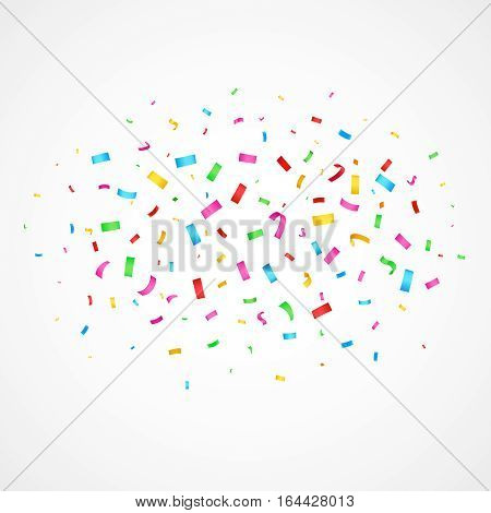 Flying christmas confetti, anniversary celebration, happy birthday party vector background. Flying glamour confetti for festive carnival, illustration glitter confetti