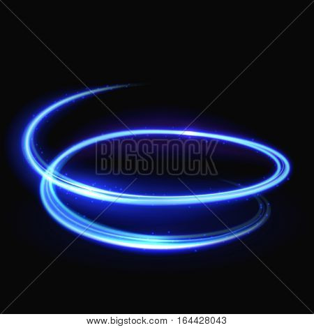 Blue vector light whirlpool, luminous swirling, glowing spiral background. Neon swirling light and bright glowing trail light illustration