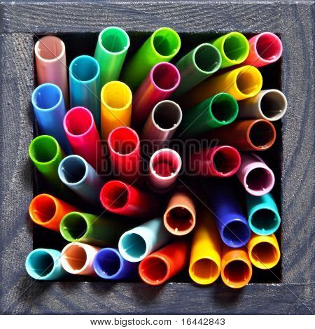 Felt tip pens in a canister