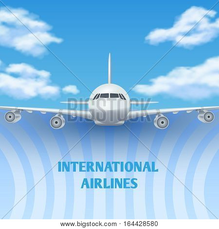 Realistic plane, aircraft, airplane in sky with white clouds vector travel background, promo poster. Banner international airline with passenger aircraft in flight illustration