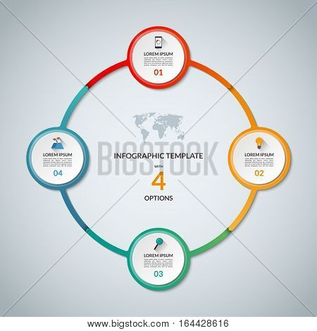 Infographic circle with 4 options. Round chart for business infographics with the set of flat icons and design elements. Can be used for web, diagram, chart, graph, report, step options.