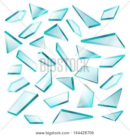 Broken glass shards isolated on white vector set. Transparent of sharp fragment glass, illustration of broken shape glass