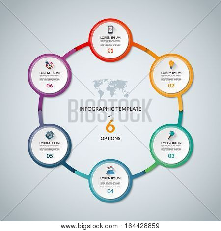 Infographic circle with 6 options. Round chart for business infographics with the set of flat icons and design elements. Can be used for web, diagram, chart, graph, report, step options.
