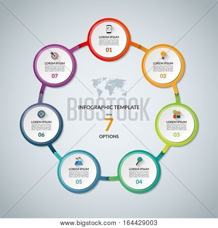 Infographic circle with 7 options. Round chart for business infographics with the set of flat icons and design elements. Can be used for web, diagram, chart, graph, report, step options.