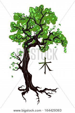 Tree tattoo in ornamental style. Hieroglyph translation: Tree