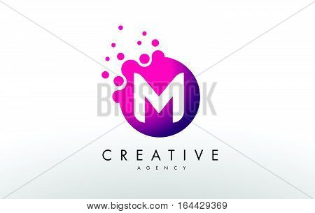 Dots Lette M Logo. M Letter Design Vector with Dots.