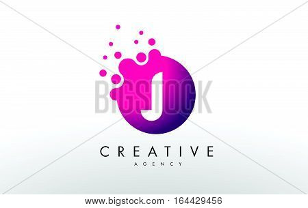Dots Letter J Logo. J Letter Design Vector with Dots.