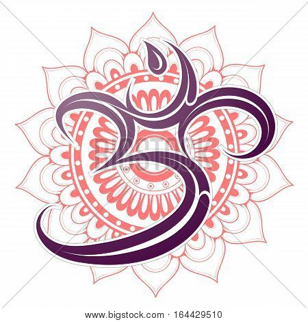 Om symbol with orient style mandala on backdrop