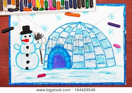 Colorful drawing: Winter landscape igloo and snowman