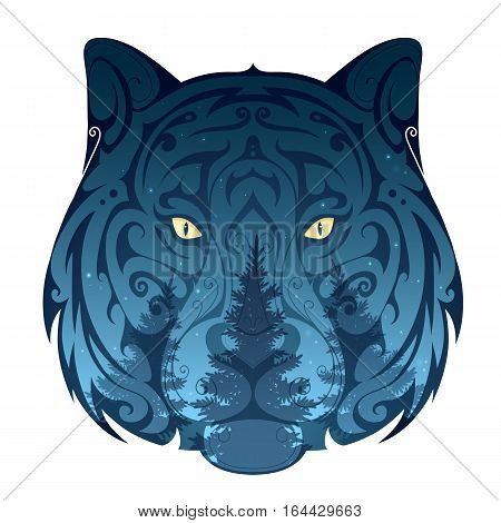 Wolf head with night forest projected on its surface. Wildlife nature concept illustration