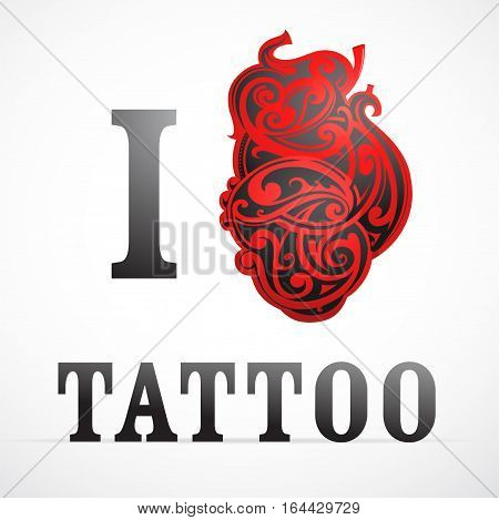 Creative tattoo design with heart shape ornament