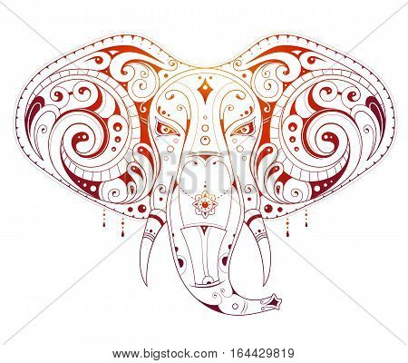 Elephant tattoo with ethnic design isolated on white