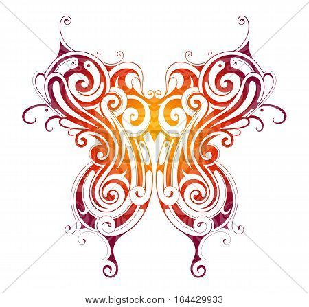 Decorative tattoo shaped as butterfly isolated on white