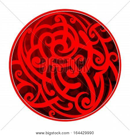Maori tribal tattoo as circle shape isolated on white