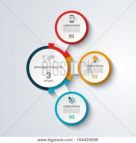 Infographic diagram template. 3 options business concept. Vector banner for graph chart, report, presentation, web design.