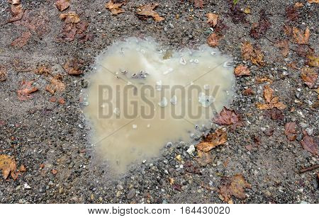 Heart puddle in the gravel at Valentine's Day