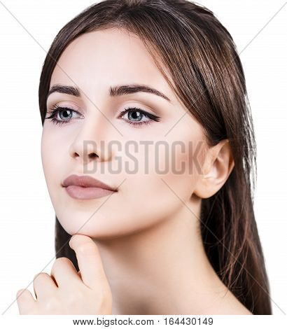 Beautiful sensual woman face over white background