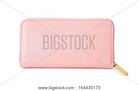 Pink purse (wallet) isolated on a white background.